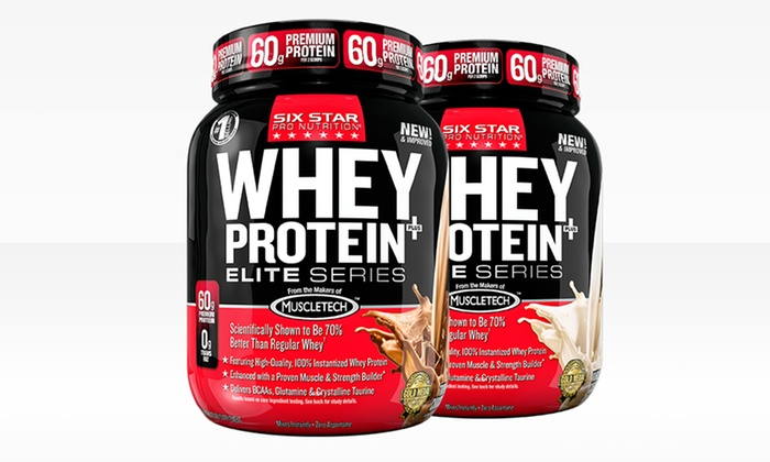 Six Star Whey-Protein 2-Packs: 2-Pack of Six Star Whey-Protein Powder in Triple Chocolate or Vanilla. Free Shipping.