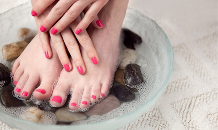 Amour Nails & Day Spa - West Arlington: $40 for a Mani-Pedi Package with a Foot Massage, Paraffin Dip, and Hot Stones at Amour Nails & Day Spa ($80 Value)