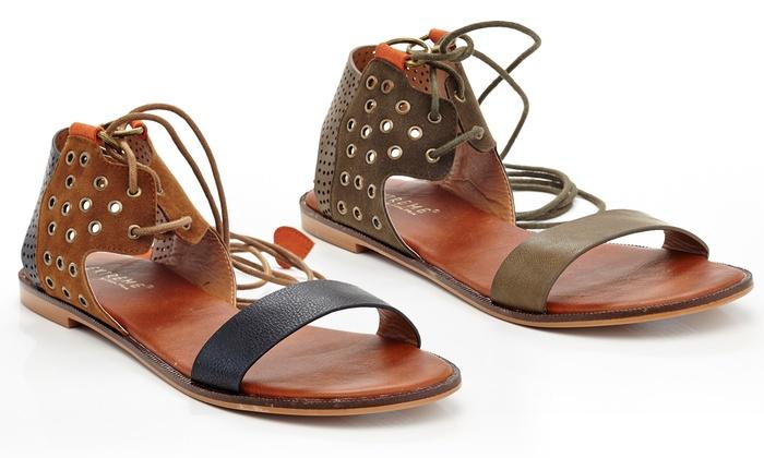 Eddie Marc Women's Strap-Up Suede Gladiator Sandals