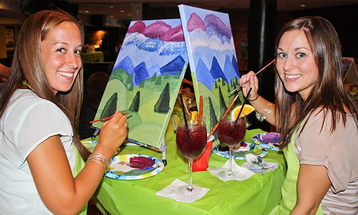 Painting event at local bar paint nite groupon for Paint and wine raleigh