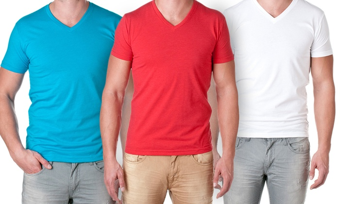 NLA Men's Premium Blend V-Neck Tees: NLA Men's Premium Blend V-Neck Tees