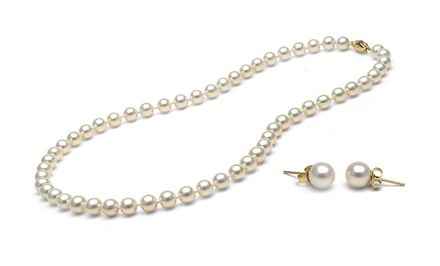 14-Karat Yellow-Gold Freshwater-Pearl Necklace and Stud Earrings Set. Free Returns.