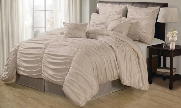 Ruched Comforter Set | Groupon Goods