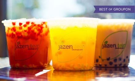 Three or Six Groupons for Fruit Tea Drinks and Smoothies at Jazen Tea (Up to 39% Off)