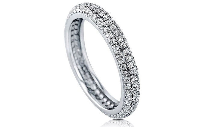Eternity Ring Made with Swarovski Elements: 5.38 CTTW Eternity Ring Made with Swarovski Elements Crystals in 18K White Gold Plated Sterling Silver