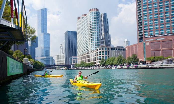Urban Kayaks - Multiple Locations: Chicago River Main Branch and South Branch Kayak Tours for 1 or 2 from Urban Kayaks. (Up to 58% Off). 8 Options.