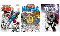 Marvel Color Your Own: Doctor Strange/Thor/Marvel Masters Set (3-Pack)3-pack of coloring books with superheroes for children and adults alike.Color Your Own Doctor StrangeColor black-and-white Doctor Strange, his friends, and enemies the way you like.  Author: Steve Ditko  Release date: 10.18.2016  Publisher: Hachette  Number of pages: 120  Age range: 0+ years  Format: paperback  EAN: 9781302901608  Dimensions: 11 x 7.4 x 0.4Color Your Own Marvel MastersColor black-and-white Marvel Masters like Fantastic Four, Avengers, X-Men, Spider-Man, and more.  Author: Marvel Comics (Jack Kirby, Steve Ditko, and others)  Release date: 08.15.2017  Publisher: Hachette  Number of pages: 120  Age range: 0+ years  Format: paperback  EAN: 9781302902735  Dime