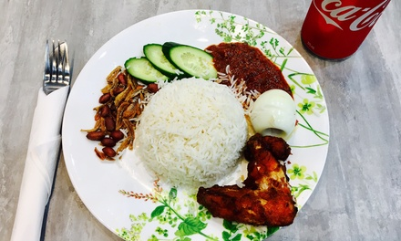 Malaysian Nasi Lemak or Salt Fish Fried Rice + Drink $6.50 or 2 $13 at The Hot and Crusty Up to $27 Value