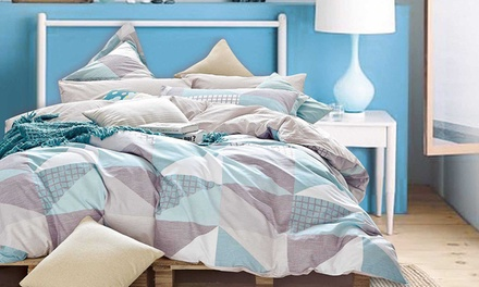 Reversible 300TC Cotton Quilt Cover Set: Queen $49 or King Size $59