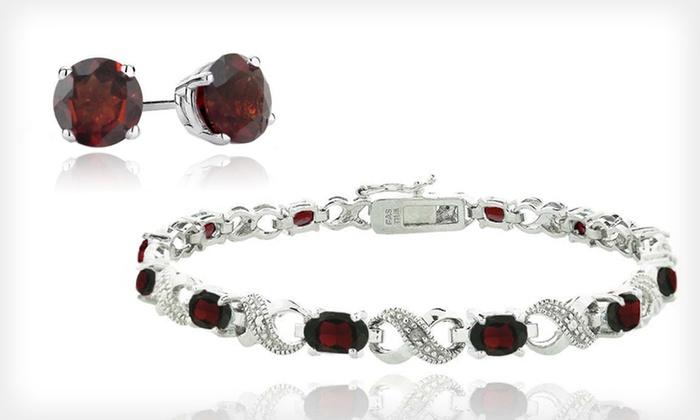 January Birthstone Garnet Earrings or Bracelet: January Birthstone Garnet Stud Earrings or Garnet and Diamond Infinity Bracelet (Up to 88% Off). Free Returns.
