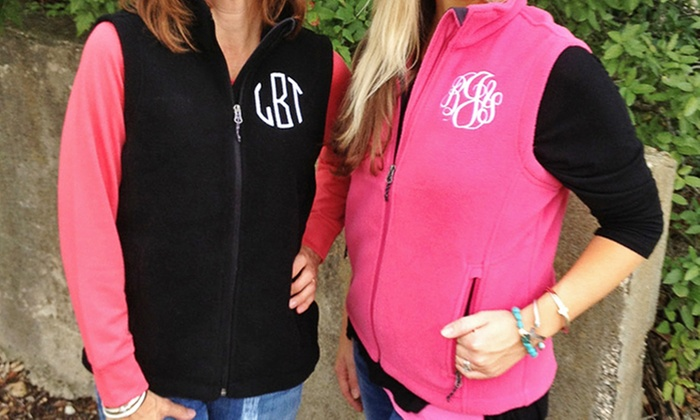 Embellish Accessories and Gifts: One or Two Monogrammed Fleece Vests from Embellish Accessories and Gifts (Up to 53% Off)