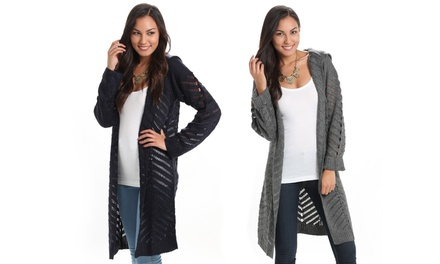 Women's Long Hooded Knit Cardigan