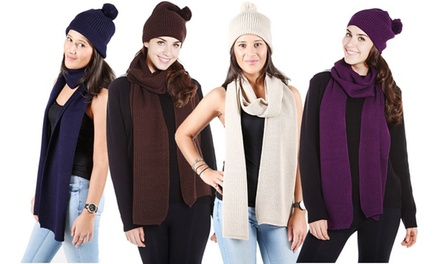Plain Knitted Hat and Scarf Set in Choice of Colour for £5.99