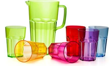 Set 6 bicchieri colorati e brocca