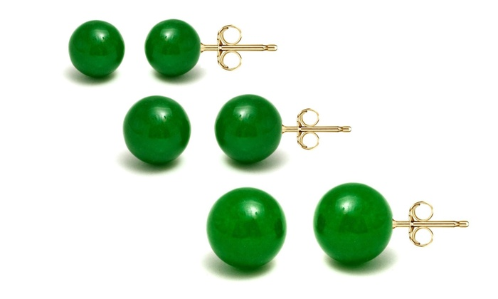 Genuine Green Jade Ball Stud Earrings In 14k Solid Gold