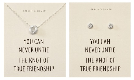 One or Two Philip Jones Sterling Silver Quote Earrings, Necklace or a Set of Both