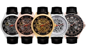 Croton Men's Imperial Automatic Leather Strap Skeleton Watch