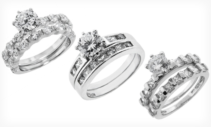 Sterling Silver Two-Piece Wedding Rings: $22.99 for Two-Piece Sterling Silver Wedding Rings ($99.99 List Price). 11 Styles Available. Free Shipping and Returns.
