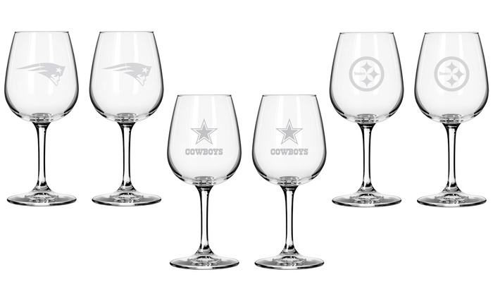 Two Pack of NFL Wine Glasses. Multiple Teams Available. Free Returns.