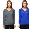 Women's V-Neck Mesh Sweater