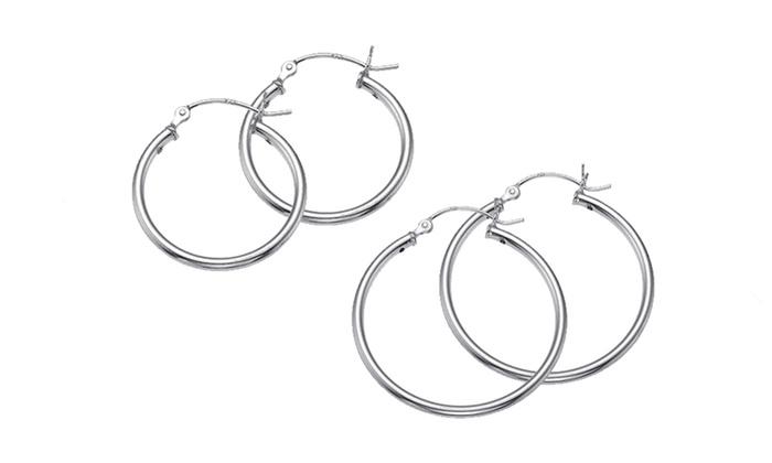 Sterling Silver Hoops Earrings: Sterling Silver Hoops Earrings. Multiple Sizes Available. Free Returns.