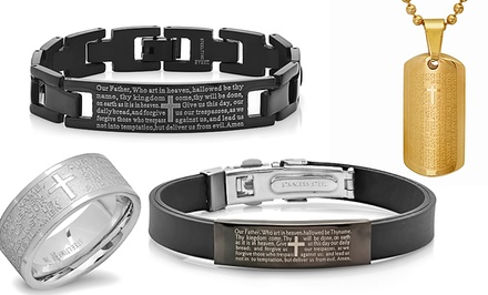 Men's Stainless Steel Lord's Prayer Jewelry from $14.99–$16.99