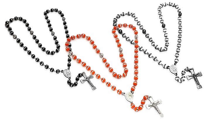 Stainless Steel Men's Rosary Necklaces: Stainless Steel Men's Rosary Necklaces (Up to 86% Off). Multiple Styles Available. Free Shipping and Returns.