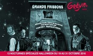 Musée Grévin: 1 billet pour l'une des 13 nocturnes Halloween à Grévin Paris du 19 au 31 octobre 2016 à 17€ au lieu de 21€