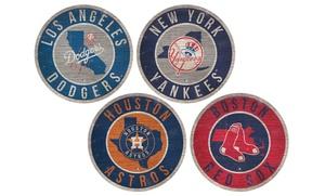"MLB Distressed 12"" Circle State Sign"