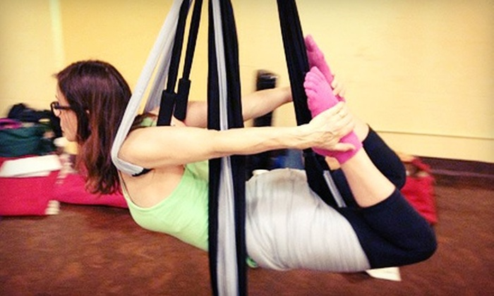 The Flying Yogi - Toronto: 10 Drop-In Yoga Classes or an Introduction to Suspension Yoga Workshop for One or Two at The Flying Yogi (Up to 74% Off)