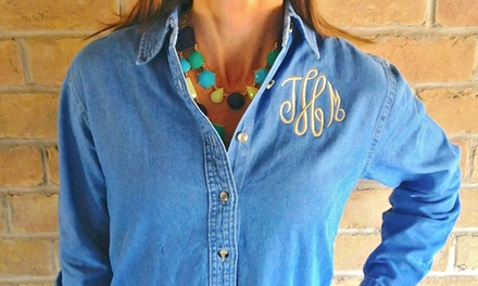 Monogrammed Polo, Long-Sleeved T-shirt, or Denim Shirt from Embellish Accessories and Gifts (Up to 51% Off)