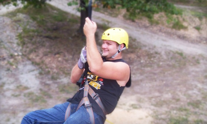 Indian Point Zipline - Ruth C Rural: $35 for a Zipline Adventure Tour for Two from Indian Point Zipline at Deer Run Family Fun Park in Branson ($72 Value)