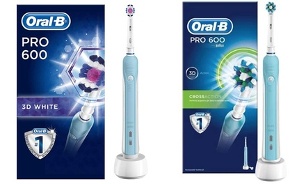 OralB Pro 600 CrossAction or White and Clean Rechargeable Toothbrush with Optional Shaver Plug