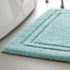 Luxe Double-Border Bath Rug (Aqua)