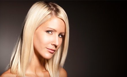 Shampoo, Haircut, Conditioning, and Blow-Dry with Optional Partial Highlights at The Onyx Salon and Spa (Up to 52% Off)