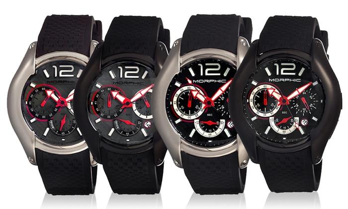 Morphic M3.5 Series Mens Chronograph Watch: Morphic M3.5 Series Mens Chronograph Watch with Carbon-Fiber Dial Design