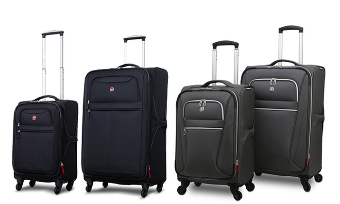 SwissGear Rolling Luggage: SwissGear Black or Charcoal Rolling Luggage. Multiple Options Available from $79.99–$99.99. Free Shipping and Returns.