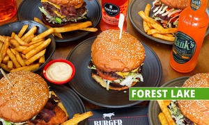 Burger Institute - Forest Lake: Choice of Burger with Chips & Beer for 2 ($39) or 4 ($78) People at Burger Institute - Forest Lake (Up to $123.20 Value)
