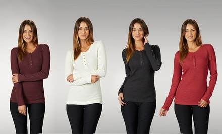 Women's Thermal Henley 2-Pack. Multiple Colors Available. Free Returns.
