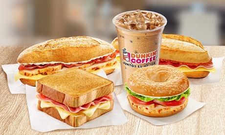 Dunkin Coffee Splau: menú Combo Quieras para dos personas con bocadillo y bebida por 4,35 €