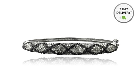 1/2 CTW Black and White Diamond Bangle
