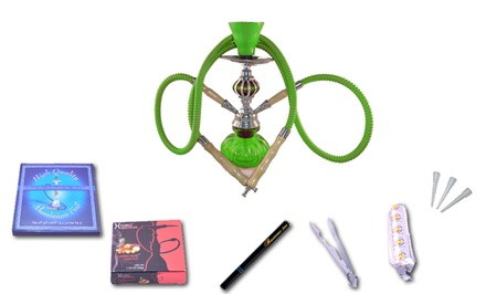 Hookah Town Hookah Starter Gift Set with Single- or Double-Hose Hookah. Multiple Colors Available.