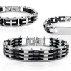 Stainless Steel and Rubber Link Bracelet
