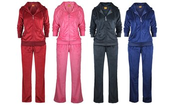 LeeHanTon Women's Soft Velour Tracksuit Set (2-Piece)