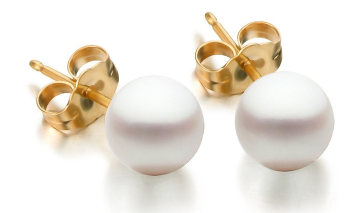 Genuine Freshwater Pearl and 14K Gold Stud Earrings: Genuine Freshwater Pearl and 14K Gold Stud Earrings.Free Returns.