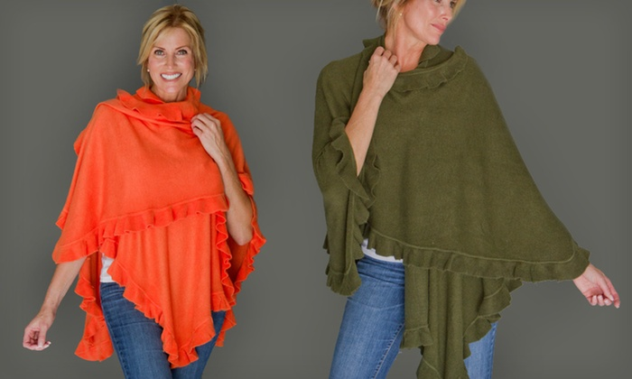 AprilMarin City Ruffle Shawl: $29 for an AprilMarin City Ruffle Shawl ($89 List Price). Four Colors Available. Free Shipping and Free Returns.