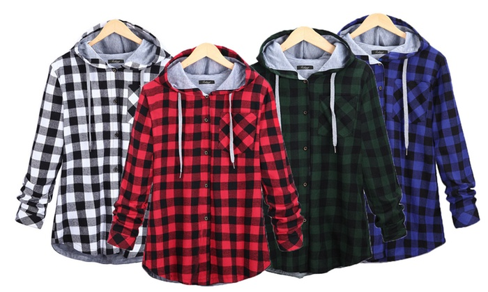 Ameec: Women's Plaid Hooded Cardigan Jacket: One ($25) or Two ($39)