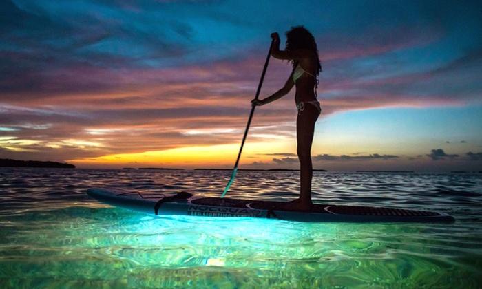 """Miami Beach Paddleboard - Miami Beach Marina: """"Neon"""" Paddleboard Glow Sunset Tour for Two or Four from Miami Beach Paddleboard (Up to 62% Off)"""