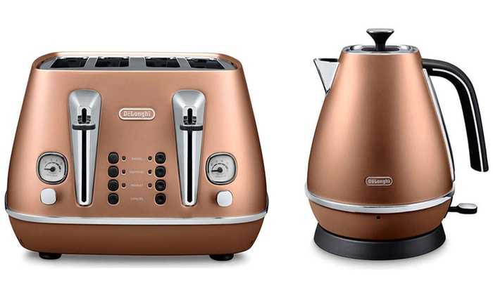 Groupon Goods Global GmbH Delonghi Distinta Kettle And Toaster Set In Copper With Free Delivery