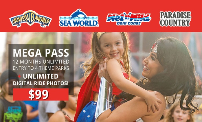 $99 for a 12-Month MEGA PASS to Warner Bros. Movie World, Sea World, Wet'n'Wild Gold Coast + Paradise Country